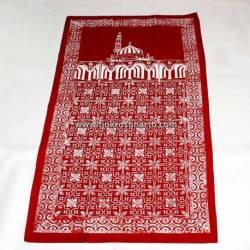 BLL 015 Sajadah Batik Cap merah maron cepoko kembang