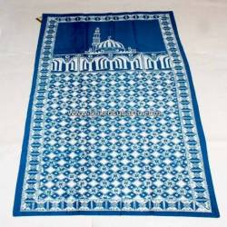 BLL 042 Sajadah Batik Cap Biru tosca Kawung kembang