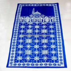 Sajadah Batik Cap Biru muda Kawung kembang BTN