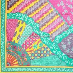 Bahan Sarimbit katun batik Printing warna Soft  Sinaran hijau tosca 220x100 cm EST