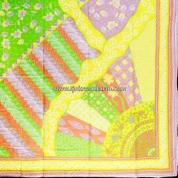 BHR 263 Bahan Sarimbit Printing warna Soft  Sinaran hijau muda 220x100cm  EST