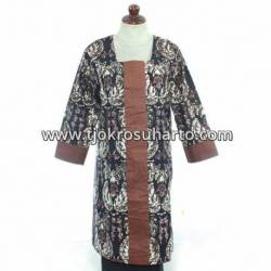 BPR 104 Blus Dress Batik cap sogan kombinasi polos BTN