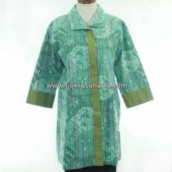BPR 202 Blus Lurik Batik Krah Jaket hijau HGG