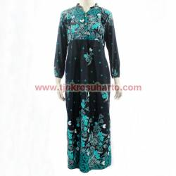 Gamis long dress Katun printing sogan colet