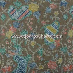 BHH 664 Bahan hem/rok batik tanahan printing coklat CLE