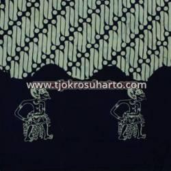 BHH 669 Bahan hem/rok batik Cap kelengan biru gendreh wayang BTN