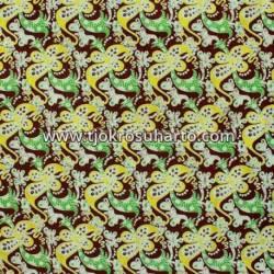 BHH 695 Bahan hem/rok batik cap katun colet kembangan coklat TNH