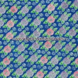 BHH 696 Bahan hem/rok batik cap katun colet kembangan biru TNH