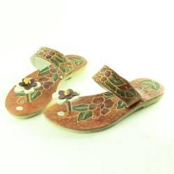 DPS 257 Sandal Batik Kulit bawah karet putih MRL