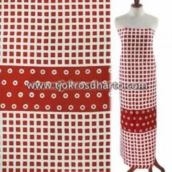 BCP 727 Batik Jogja Cap Motif Kelengan Kotak merah tanggung BTN