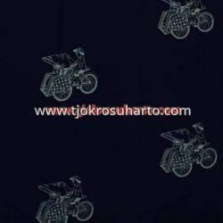 BHH 812 Bahan Hem/rok batik Cap kelengan biru ceplok becak BTN