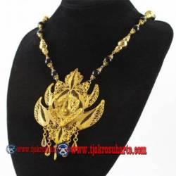 Kalung Mutiara hitam liontin duan emas 46 cm YNN (12)