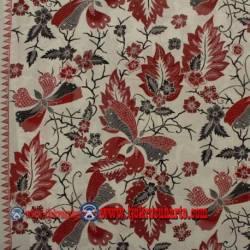 BHR 765 Bahan sarimbit Katun Print malam colet Latar putih kupu besar merah  240x115 cm SSD
