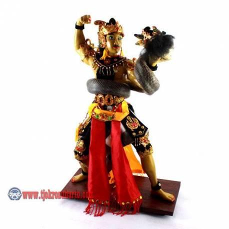 EMF 474 Patung fiber Wekudoro Tarung Ulo poleng 43x26 cm BUD